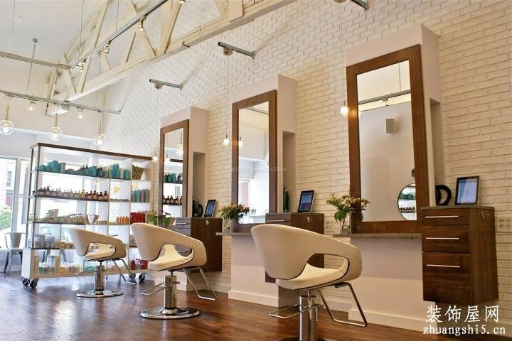 国外理发店门面室内墙砖墙面装修效果图